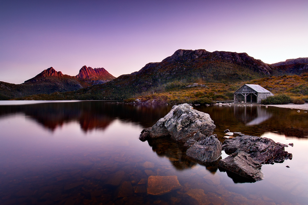 Cradle mountain boatshed mountain forest photos for Landscaping rocks tasmania