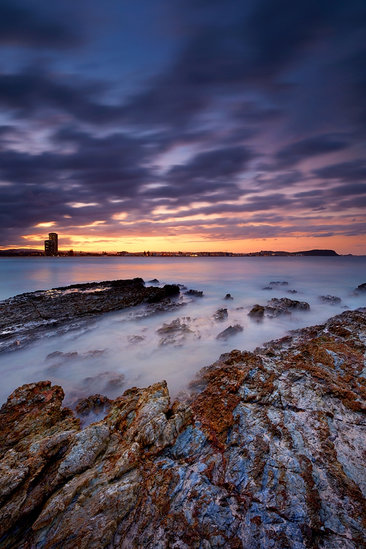 Colourful sunset sky over Currumbin Rocks, Gold Coast, Queensland, Australia